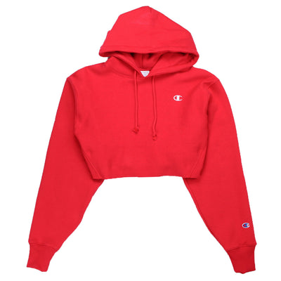 Champion Women's Reverse Weave Cropped Hoodie Men's Fit Red Spark