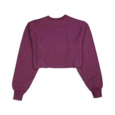 Champion Women's Reverse Weave Cropped Crew Neck Men's Fit Dark Berry Purple Back