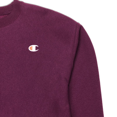 Champion Women's Reverse Weave Cropped Crew Neck Men's Fit Dark Berry Purple Logo
