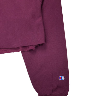 Champion Women's Reverse Weave Cropped Crew Neck Men's Fit Dark Berry Purple Logo 2