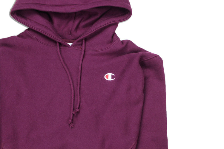 9e969a508d26 Champion Reverse Weave Cropped Cut Off Hoody Dark Berry Purple Logo