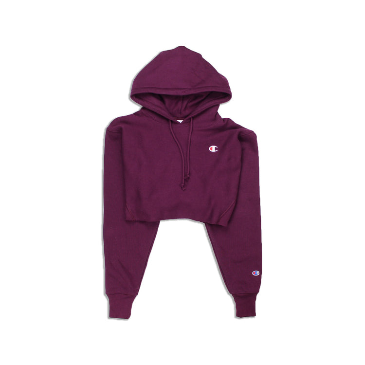 cb392ff064fc Champion Reverse Weave Cropped Cut Off Hoody Dark Berry Purple