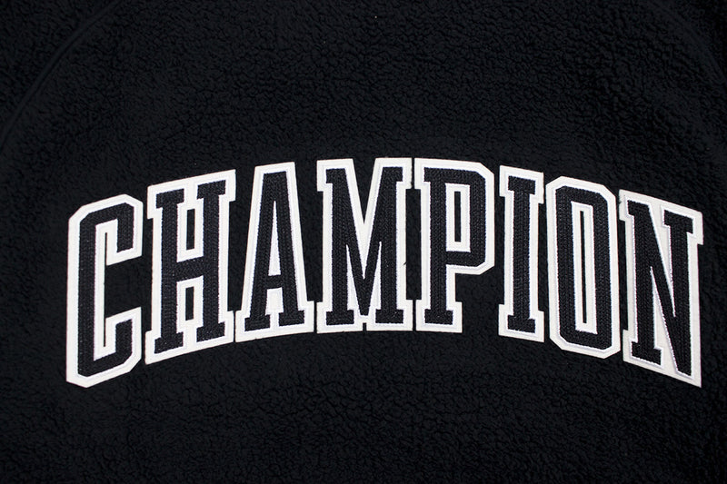 Champion Women's Sherpa Bomber Jacket Black Champion Patch