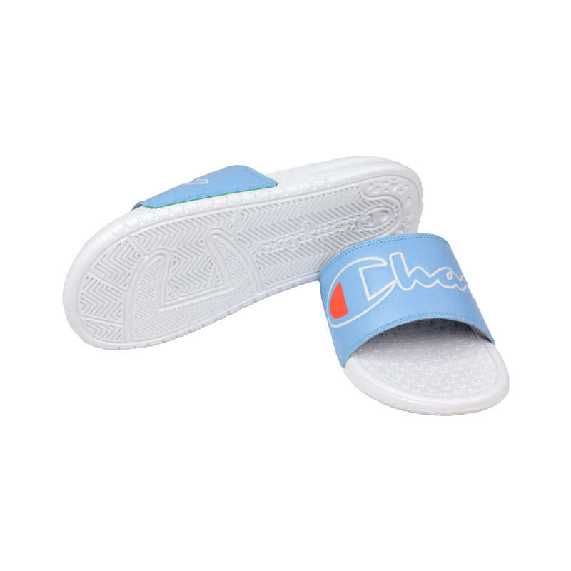 Champion Women's Split Script Super Slides Ocean Blue & White Bottom