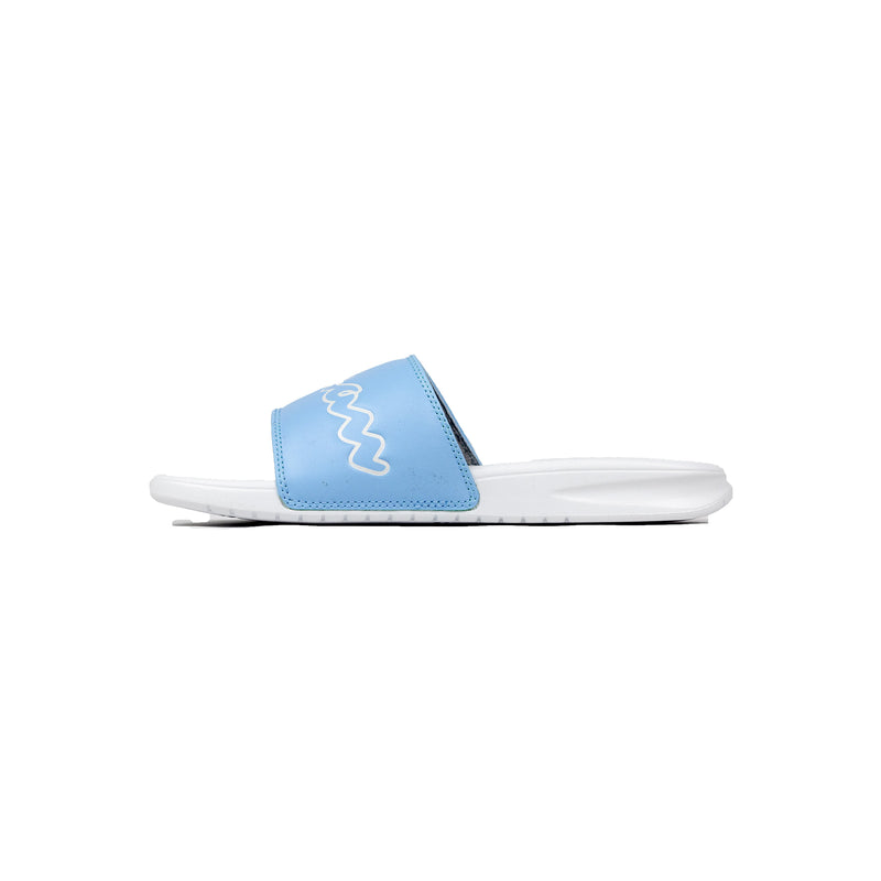 Champion Women's Split Script Super Slides Ocean Blue & White Left