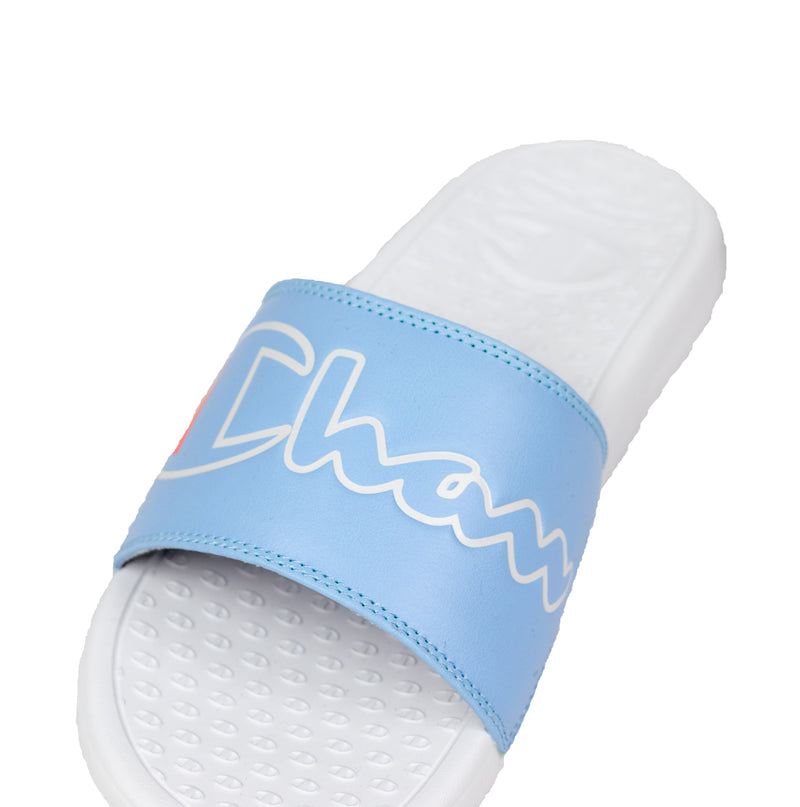 Champion Women's Split Script Super Slides Ocean Blue & White Logo