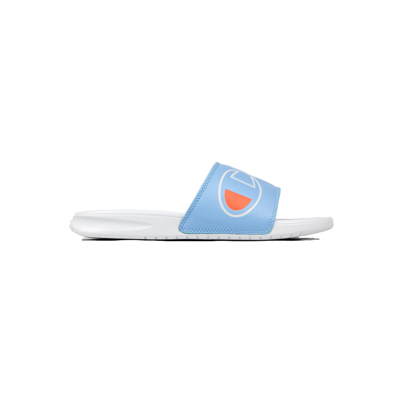 Champion Women's Split Script Super Slides Ocean Blue & White Right
