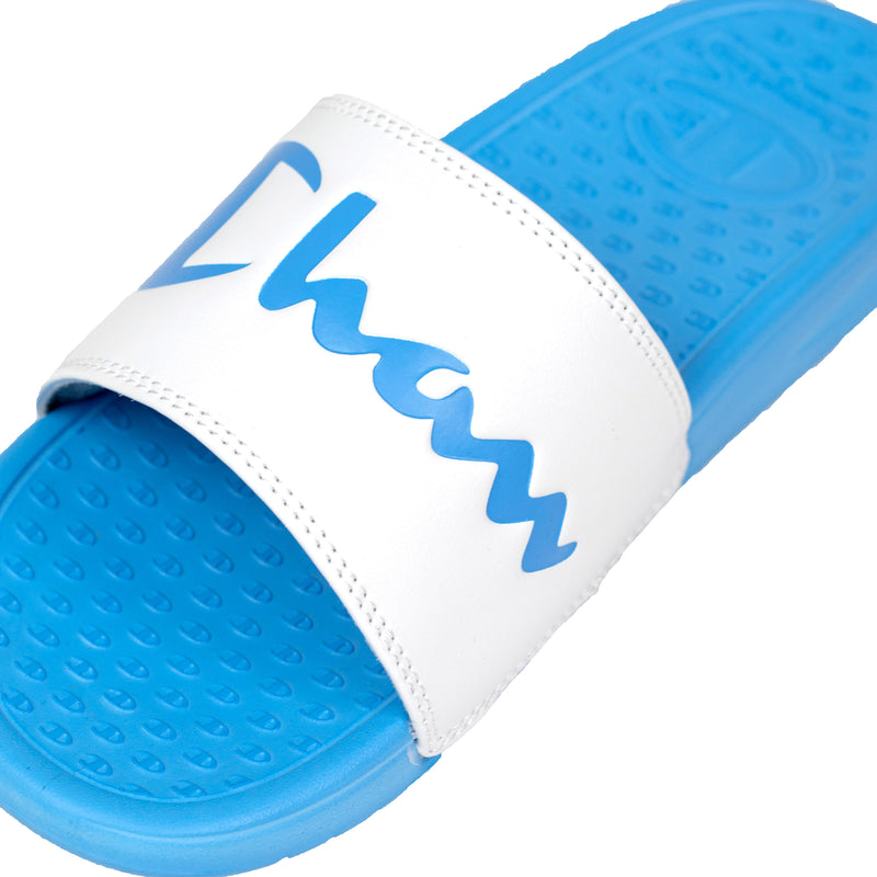 Champion Women's Split Script Super Slides White & Active Blue Logo