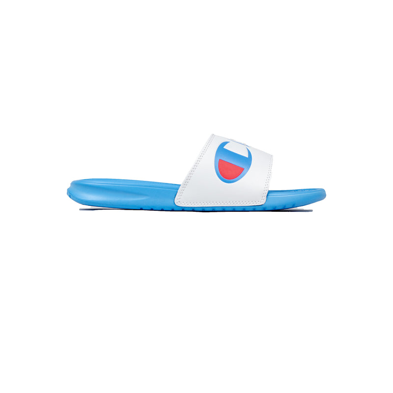 Champion Women's Split Script Super Slides White & Active Blue Right