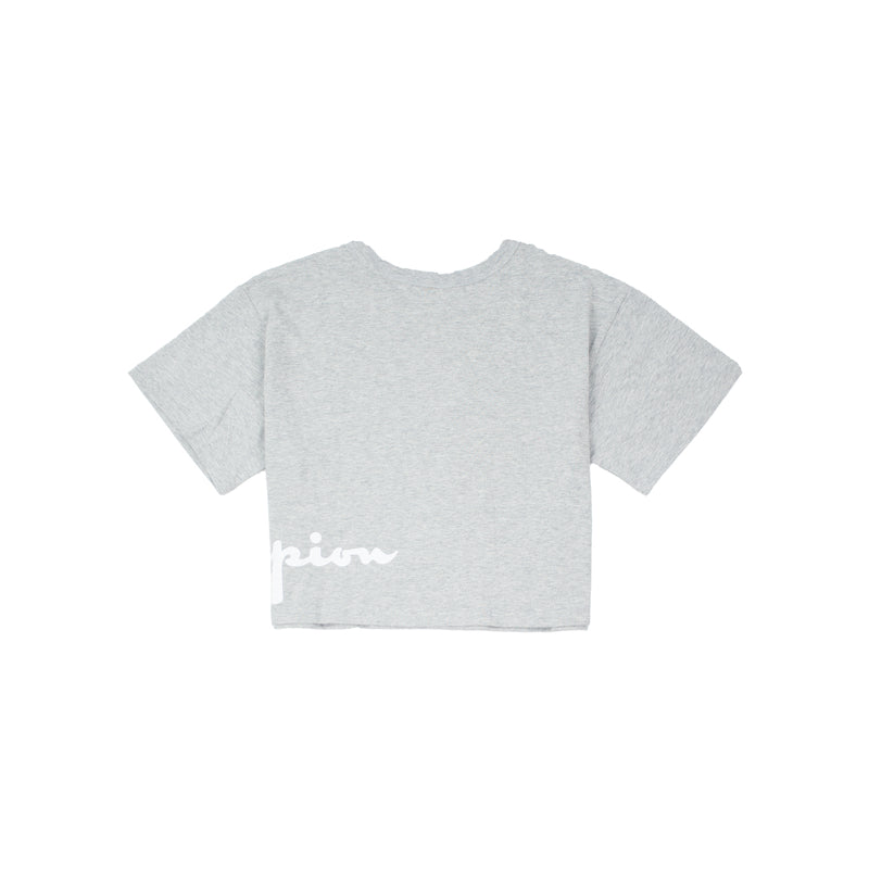Champion Women's Wrapped Script Crop Tee Heather Grey Back