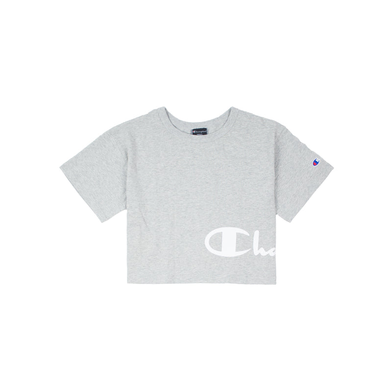 Champion Women's Wrapped Script Crop Tee Heather Grey