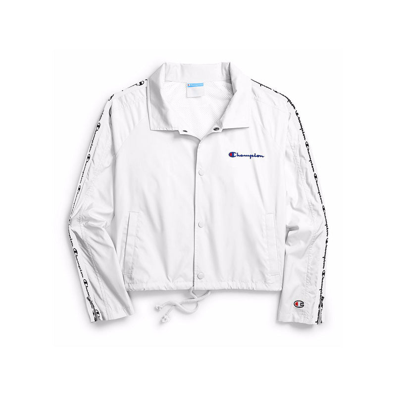 Champion Women's Zipper Tape Cropped Coaches Jacket White