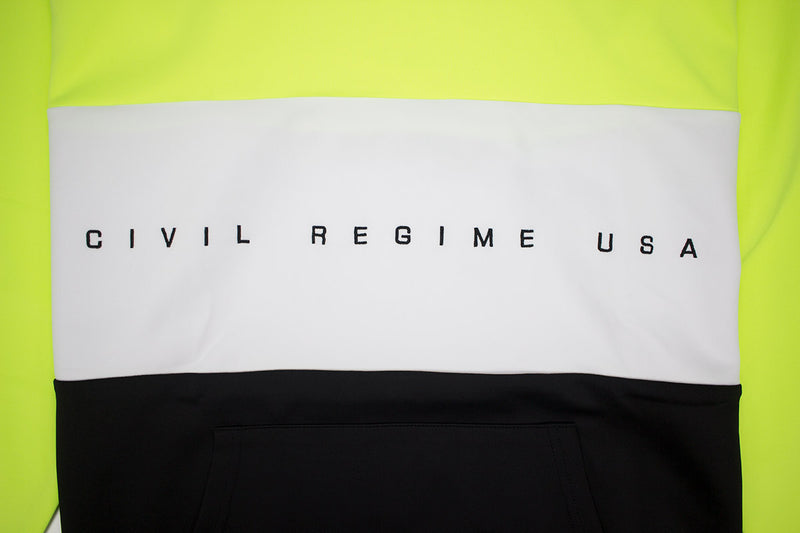 Civil Regime Crusa Pullover Hoodie In Neon Green Artwork