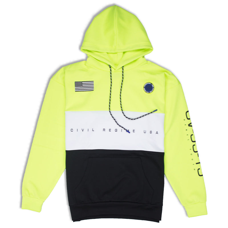 Civil Regime Crusa Pullover Hoodie In Neon Green