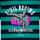 Civil Regime Earth Crisis Stripe Tee Navy & Green Artwork