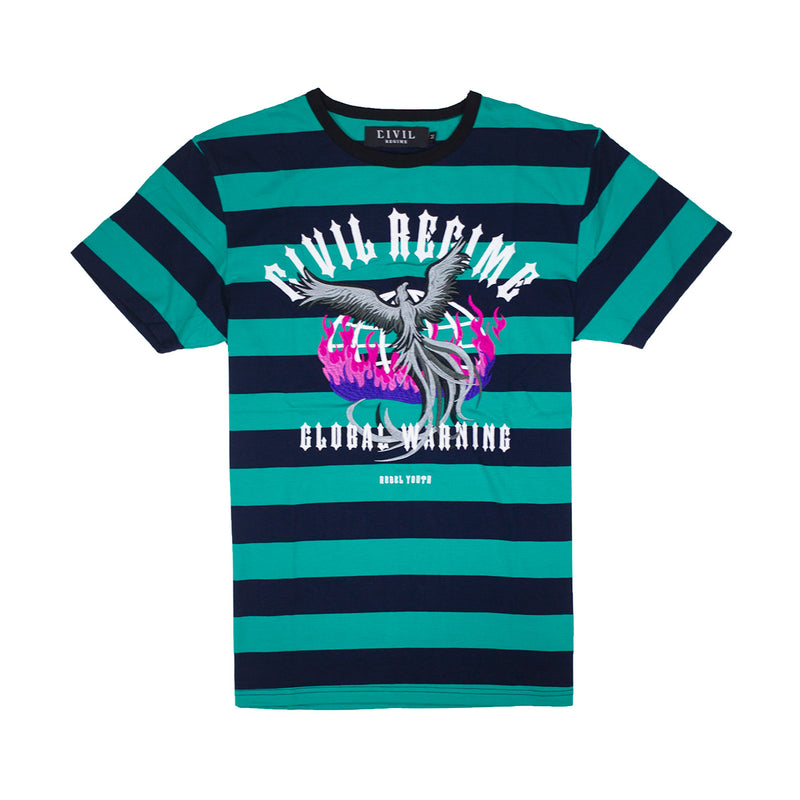 Civil Regime Earth Crisis Stripe Tee Navy & Green