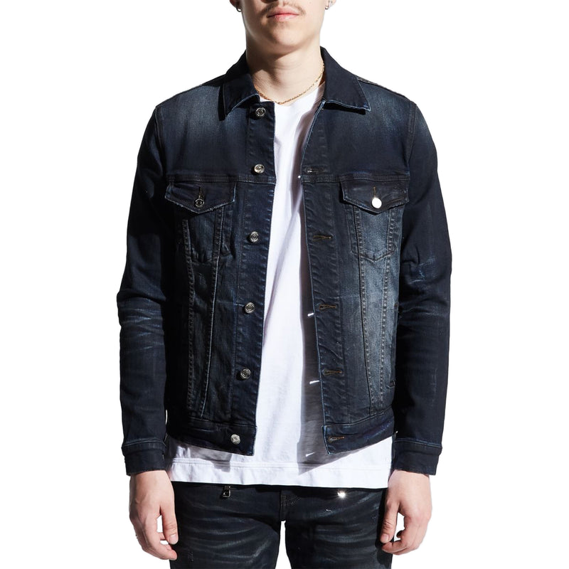 Embellish Men's Clemente Denim Jacket Charcoal Front