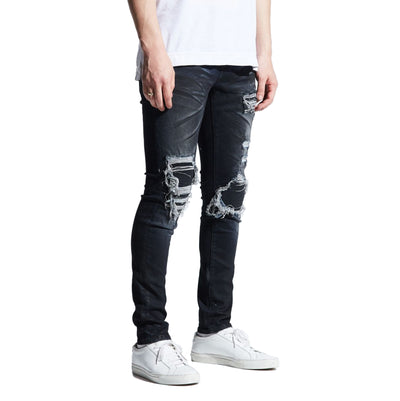 Embellish Men's Clemente Rip and Repair Jeans Charcoal