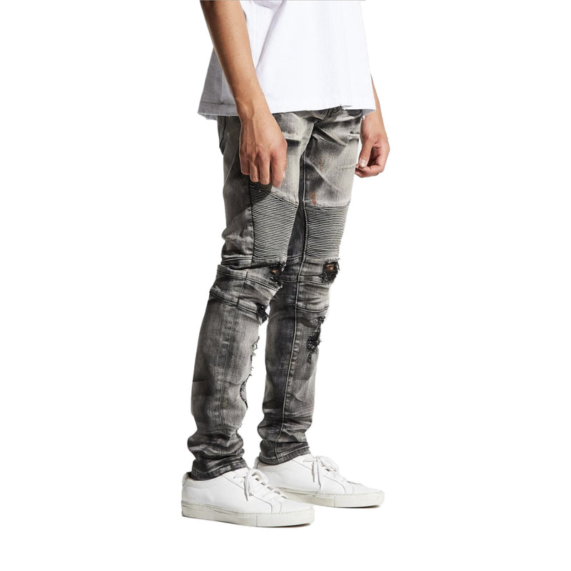 Embellish Men's Hayes Biker Denims Distressed Grey