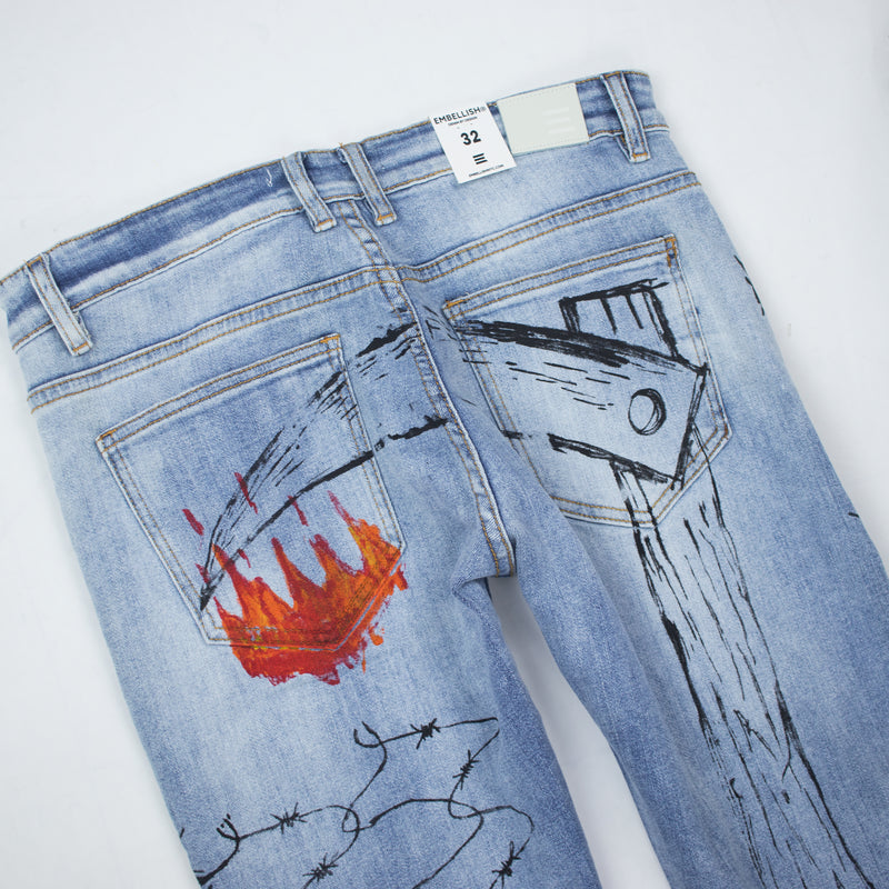 Embellish Men's Osbourne Denim Light Blue Back Detail