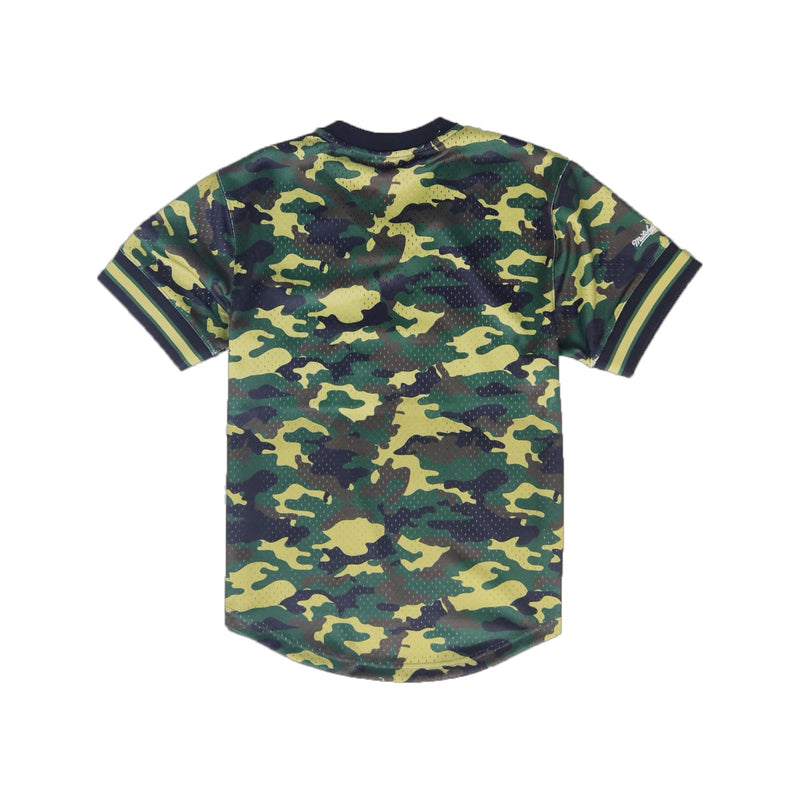 Mitchell & Ness Los Angeles Lakers Camo Mesh V-Neck Baseball Jersey Back