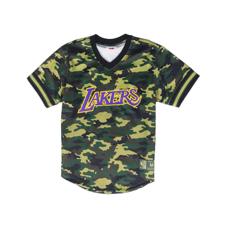 Mitchell & Ness Los Angeles Lakers Camo Mesh V-Neck Baseball Jersey