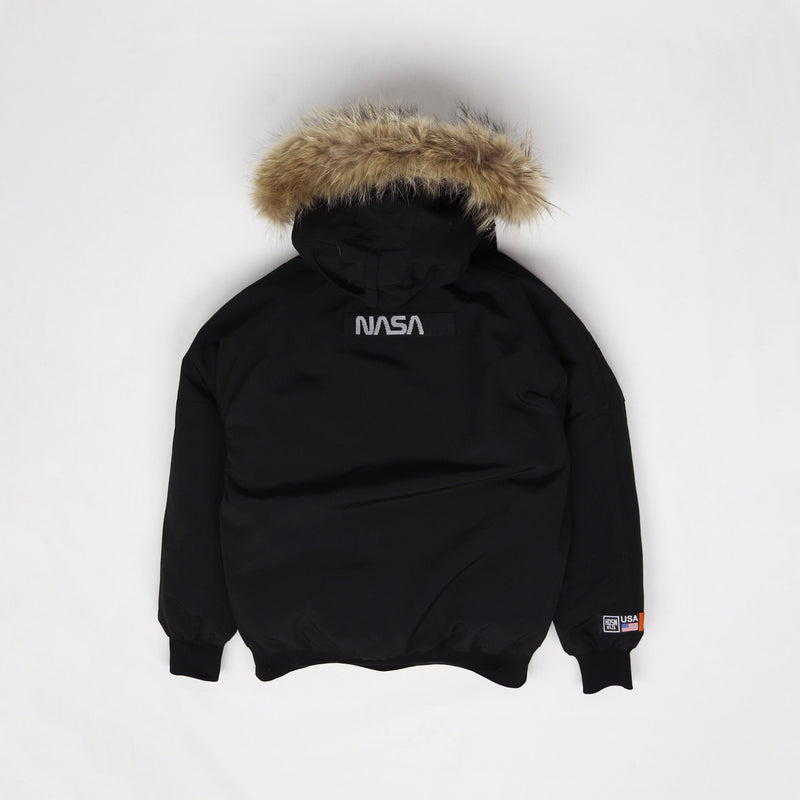 Hudson Outerwear Nasa Fur Hood Bomber Jacket Black Back