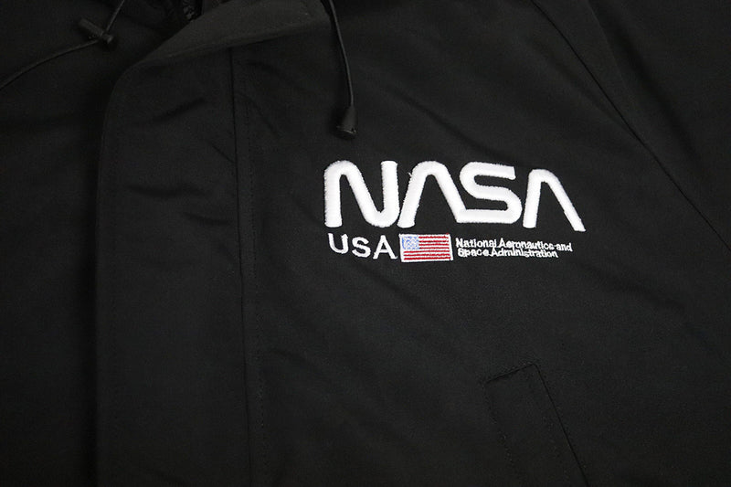 Hudson Outerwear Nasa Fur Hood Bomber Jacket Black Logo