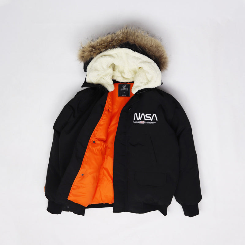 Hudson Outerwear Nasa Fur Hood Bomber Jacket Black Opened