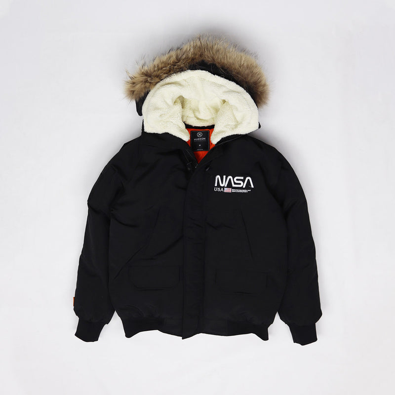 Hudson Outerwear Nasa Fur Hood Bomber Jacket Black
