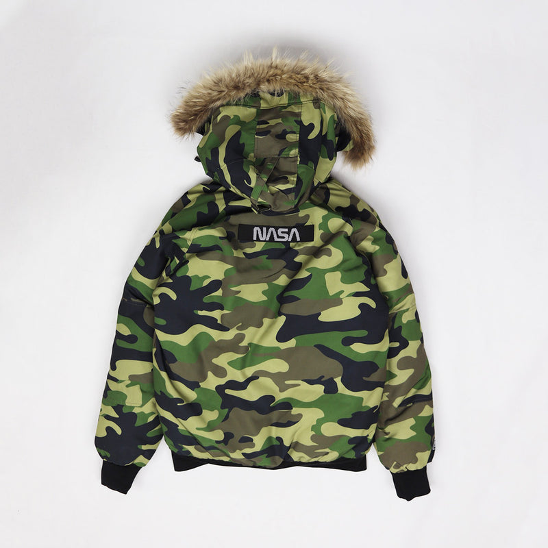 Hudson Outerwear Nasa Fur Hood Bomber Jacket Woodland Camo Back