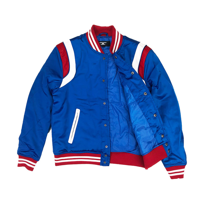 Jordan Craig Geneva Satin Varsity Jacket Royal Opened