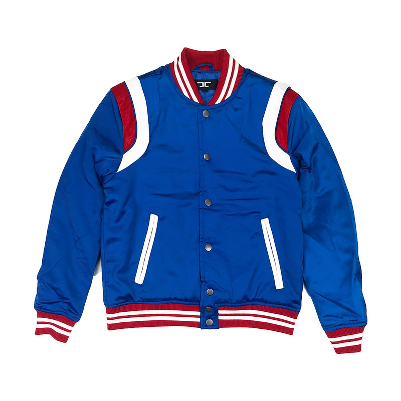 Jordan Craig Geneva Satin Varsity Jacket Royal