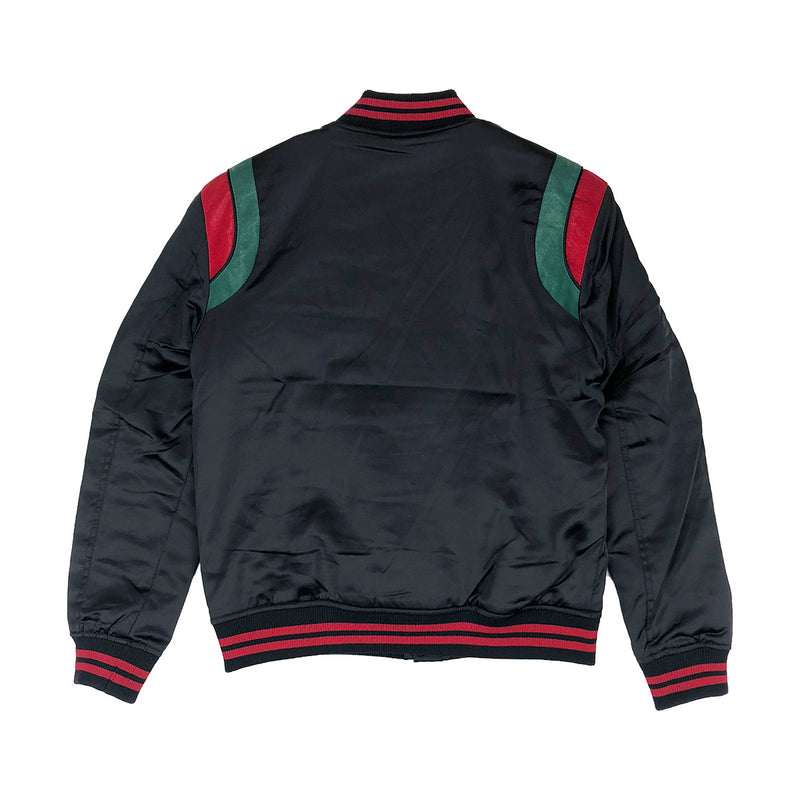 Jordan Craig Geneva Satin Varsity Jacket Black Back
