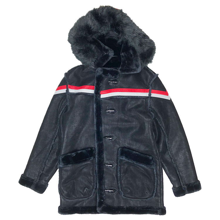 Tuscany Striped Shearling Jacket Black