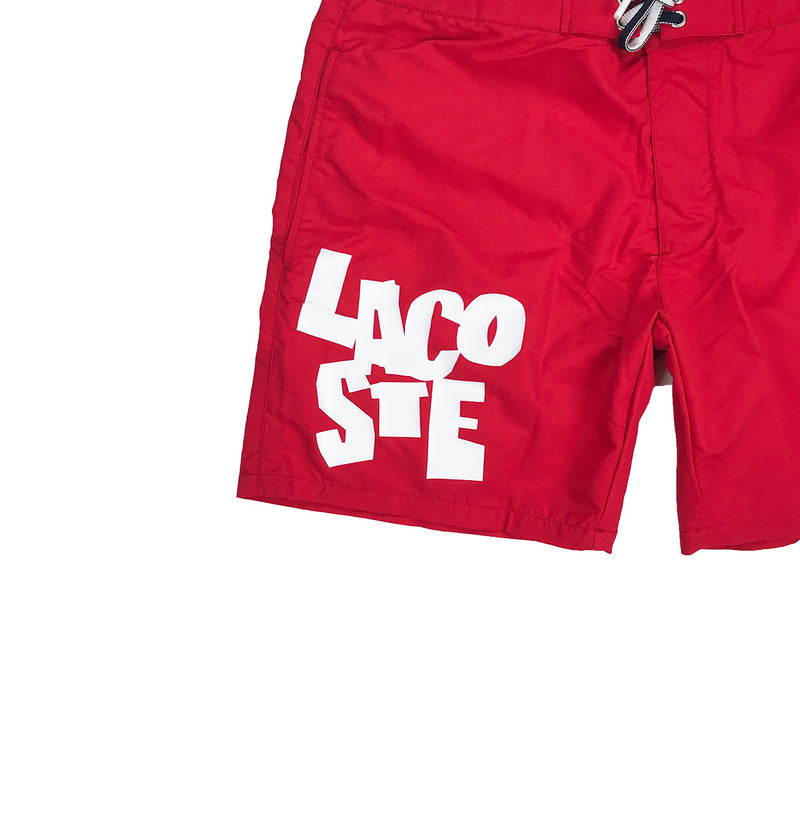 Lacoste Lettering Canvas Swimming Trunks Red Artwork