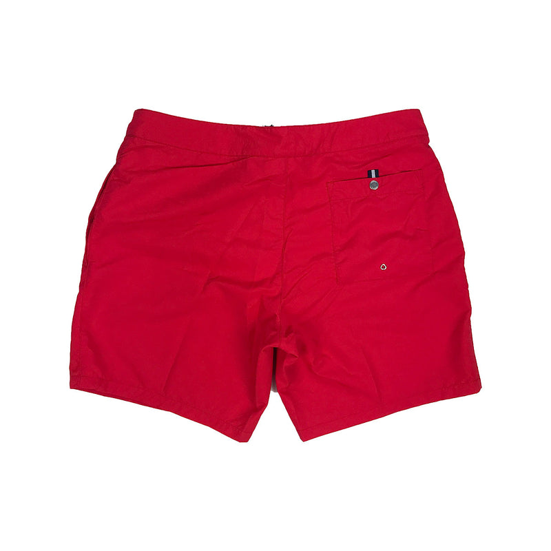 Lacoste Lettering Canvas Swimming Trunks Red Back