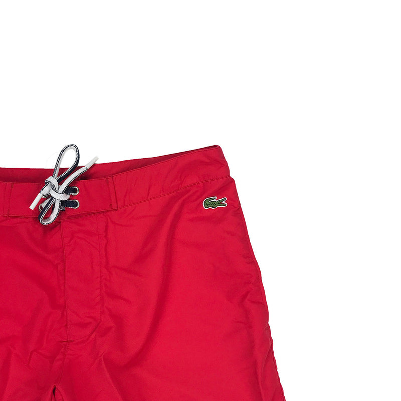 Lacoste Lettering Canvas Swimming Trunks Red Trademark