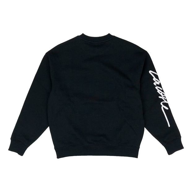 Lacoste Live Crew Neck Embroidered Fleece Sweatshirt Black Back