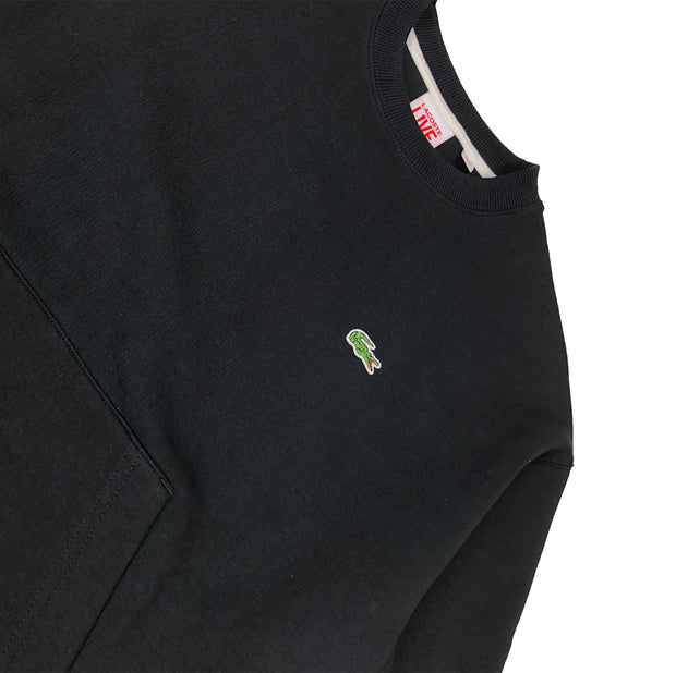 Lacoste Live Crew Neck Embroidered Fleece Sweatshirt Black Croc