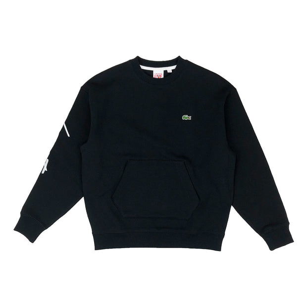 Lacoste Live Crew Neck Embroidered Fleece Sweatshirt Black