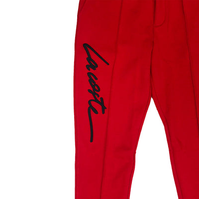 Lacoste Live Embroidered Fleece Urban Jogging Pants Red Embroidery