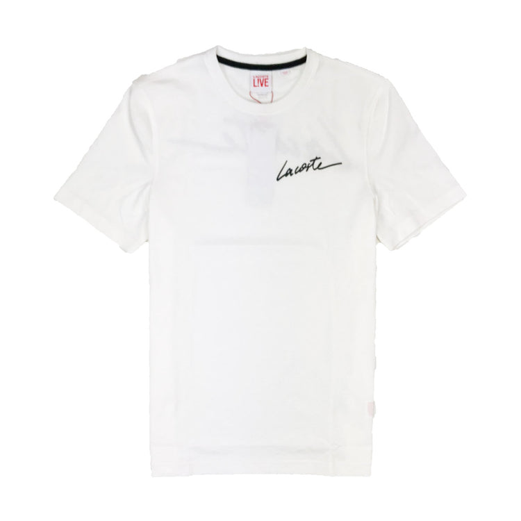 Lacoste Live Crew Neck Signature Jersey T-Shirt Cream