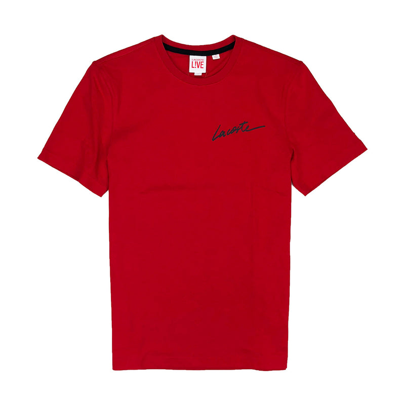 Lacoste Live Crew Neck Signature Jersey T-Shirt Red