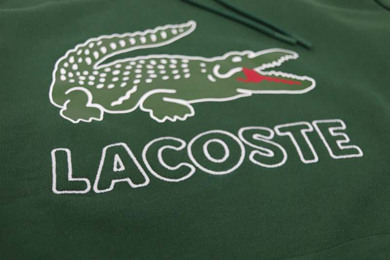 Lacoste Men's Big Croc Script Hoodie Green Artwork