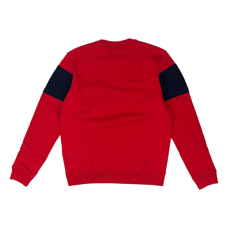 Lacoste Crew Neck Colorblock Cotton Fleece Sweatshirt Red / Navy Blue Back