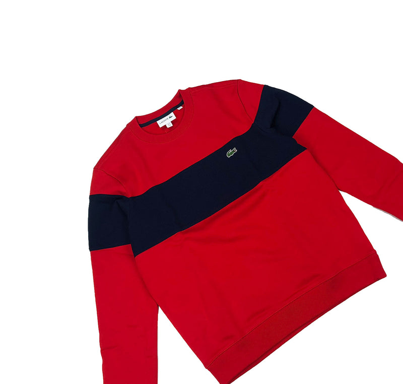 Lacoste Crew Neck Colorblock Cotton Fleece Sweatshirt Red / Navy Blue Front