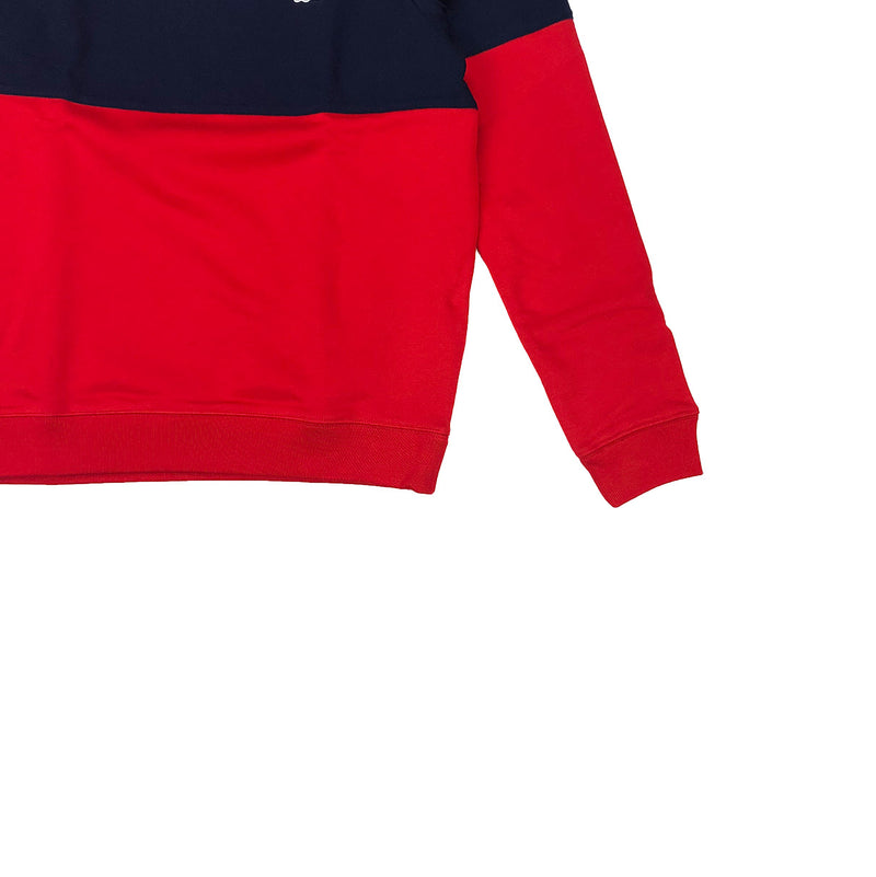 Lacoste Crew Neck Colorblock Cotton Fleece Sweatshirt Red / Navy Blue Trim