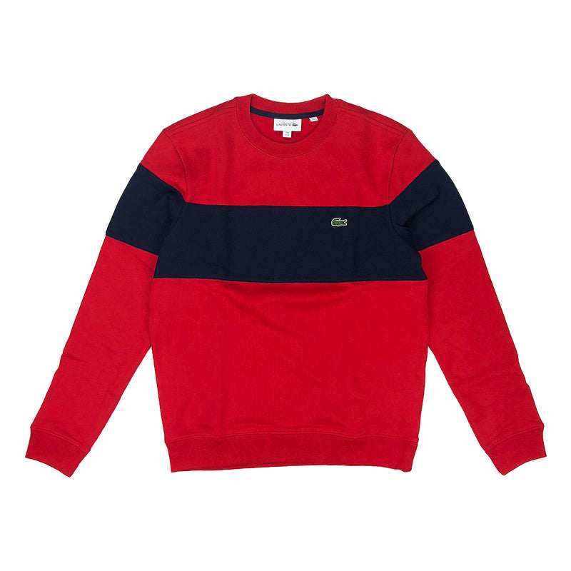Lacoste Crew Neck Colorblock Cotton Fleece Sweatshirt Red / Navy Blue