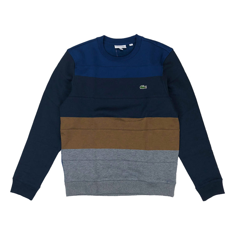 Lacoste Crew Neck Colorblock Cotton Fleece Sweatshirt